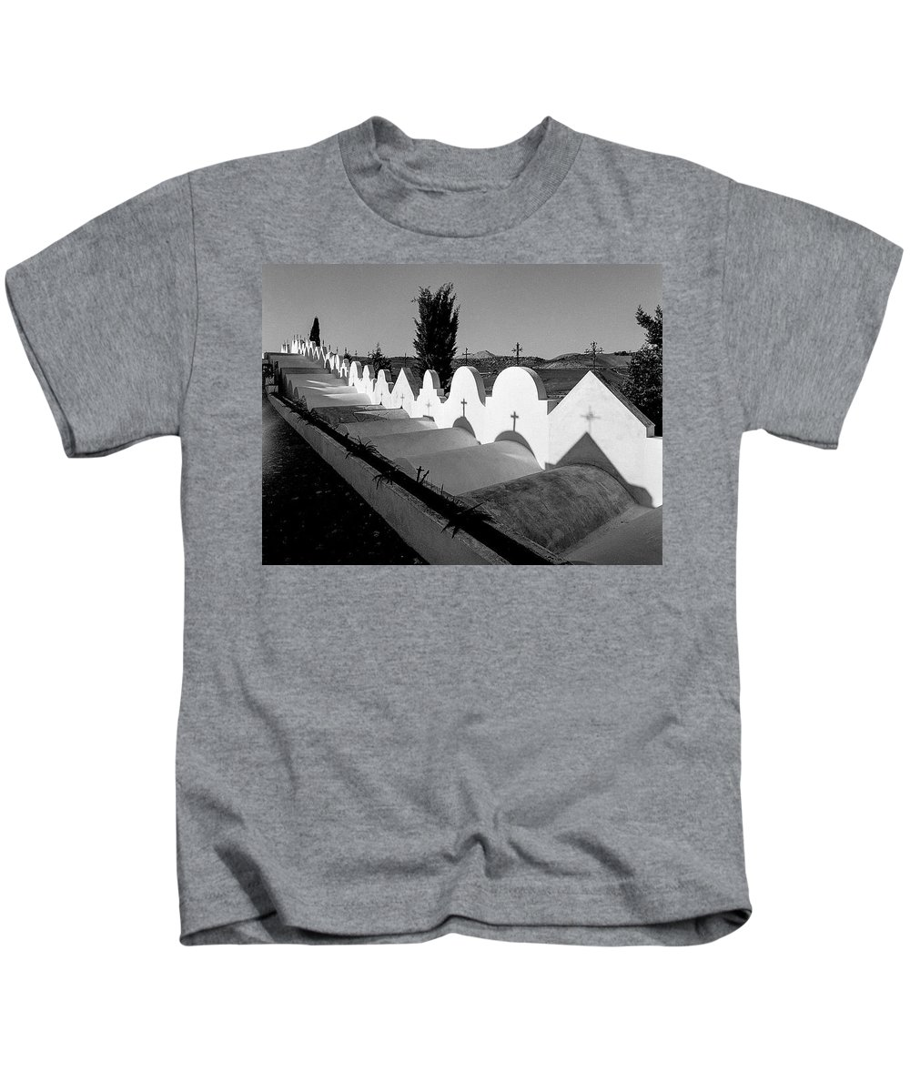 Cemetery In Casabermeja Kids T-Shirt featuring the photograph Cemetery Spain Three by Mike Penney