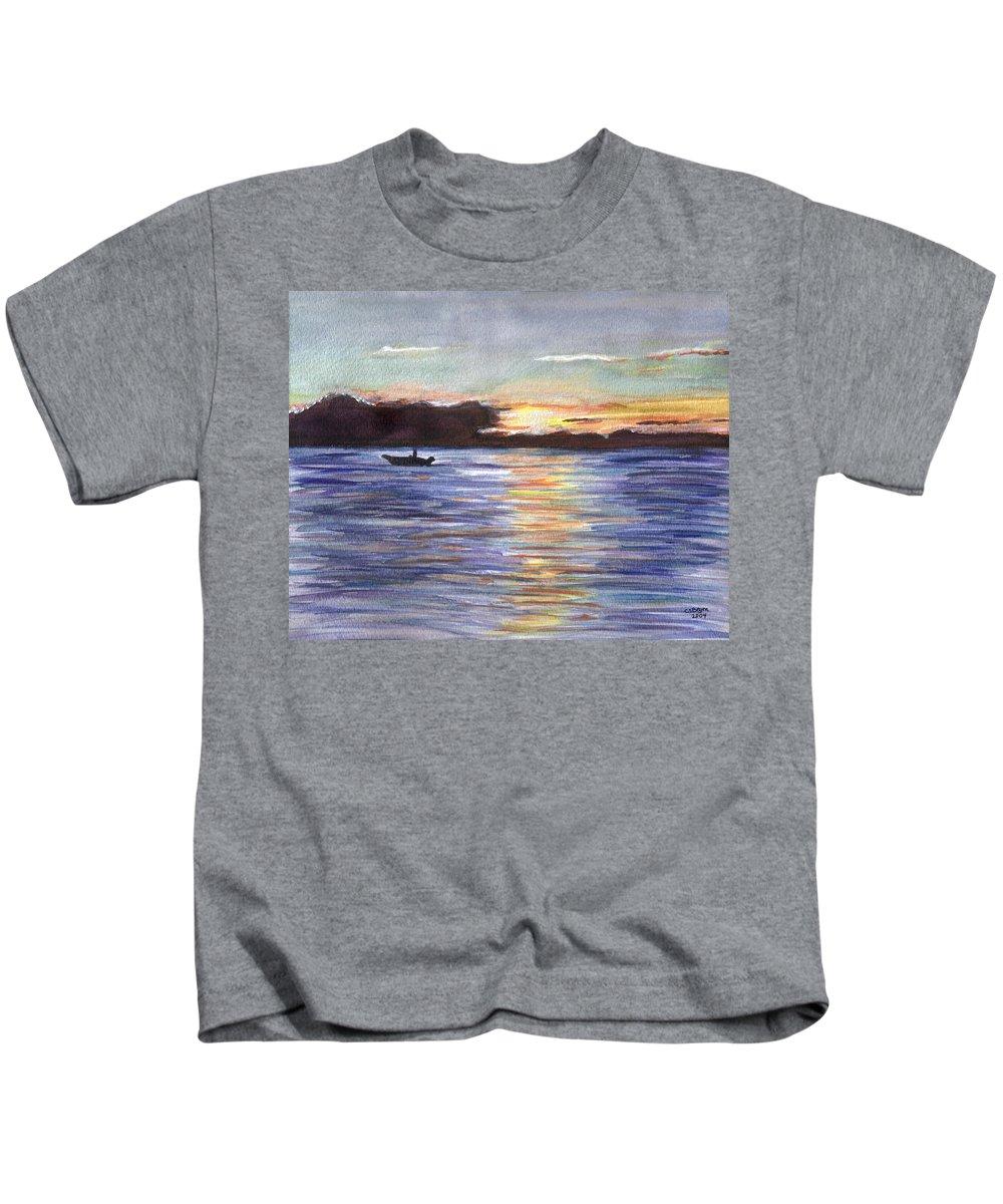 Sunset Kids T-Shirt featuring the painting Chesapeake Dusk Boat Ride by Clara Sue Beym