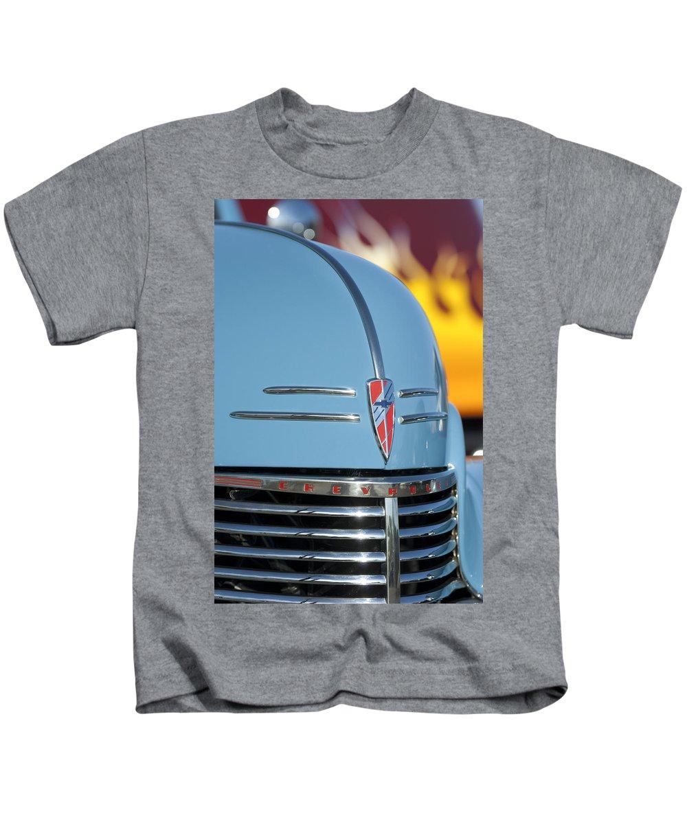 Chevrolet Kids T-Shirt featuring the photograph Chevrolet Hood Emblem 2 by Jill Reger