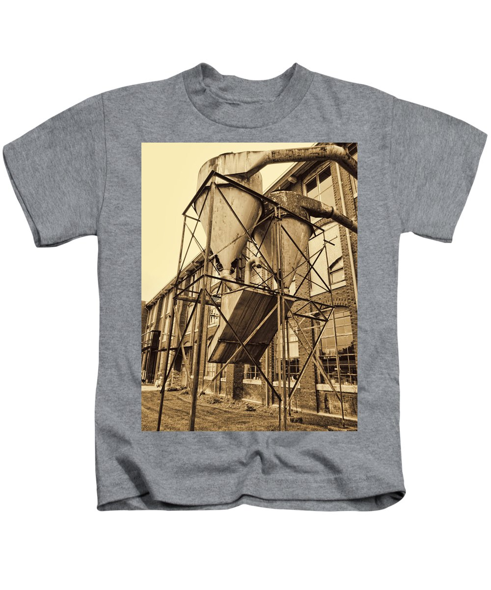 Lowe Mill Kids T-Shirt featuring the photograph Circa 1901 Lowe Mill Cotton Plant Huntsville Alabama Usa In Sepia by Kathy Clark