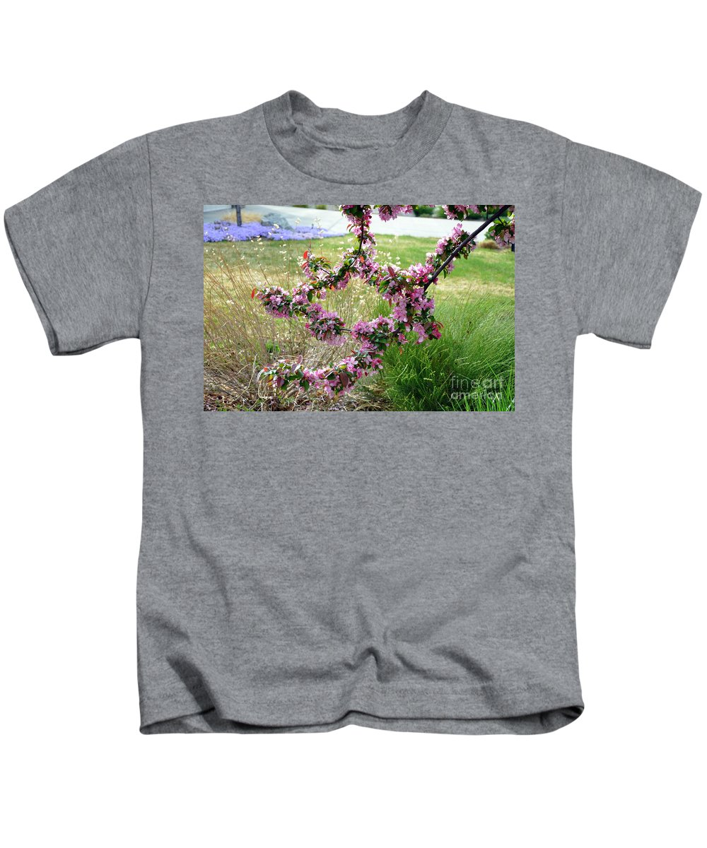 Apple Tree Blossoms Kids T-Shirt featuring the photograph Circle Of Blossoms by Dorrene BrownButterfield