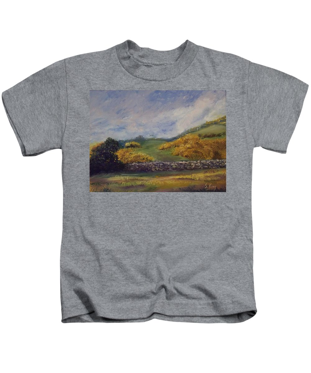 Landscape Kids T-Shirt featuring the painting Clover Fields by Stephen King