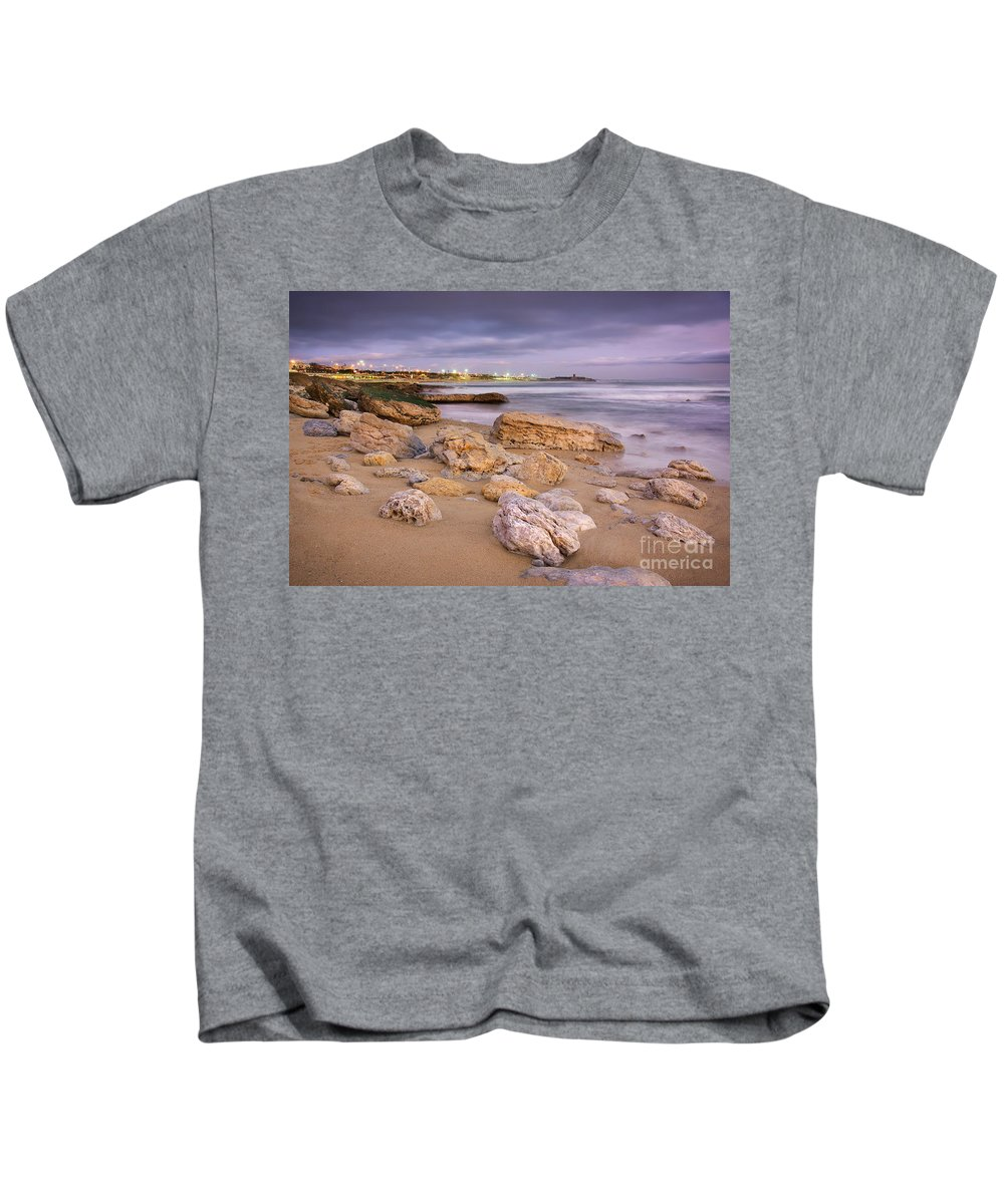 Background Kids T-Shirt featuring the photograph Coastline At Twilight by Carlos Caetano