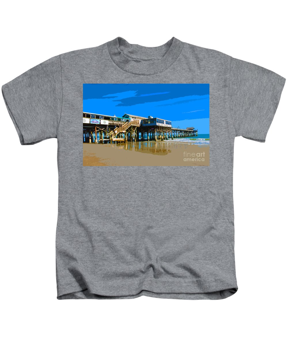 Florida Kids T-Shirt featuring the painting Cocoa Beach Pier by Allan Hughes