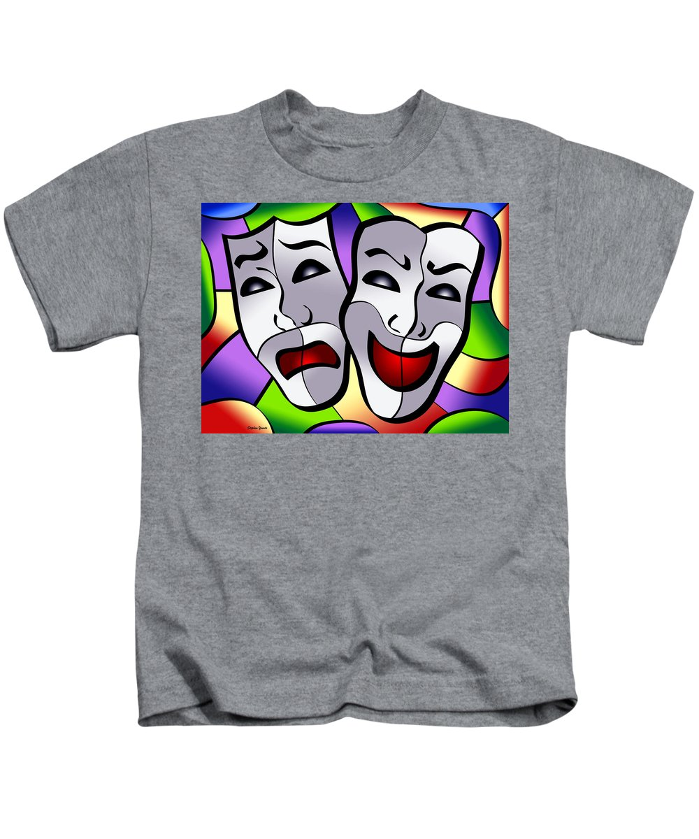 Comedy Kids T-Shirt featuring the digital art Comedy And Tragedy by Stephen Younts