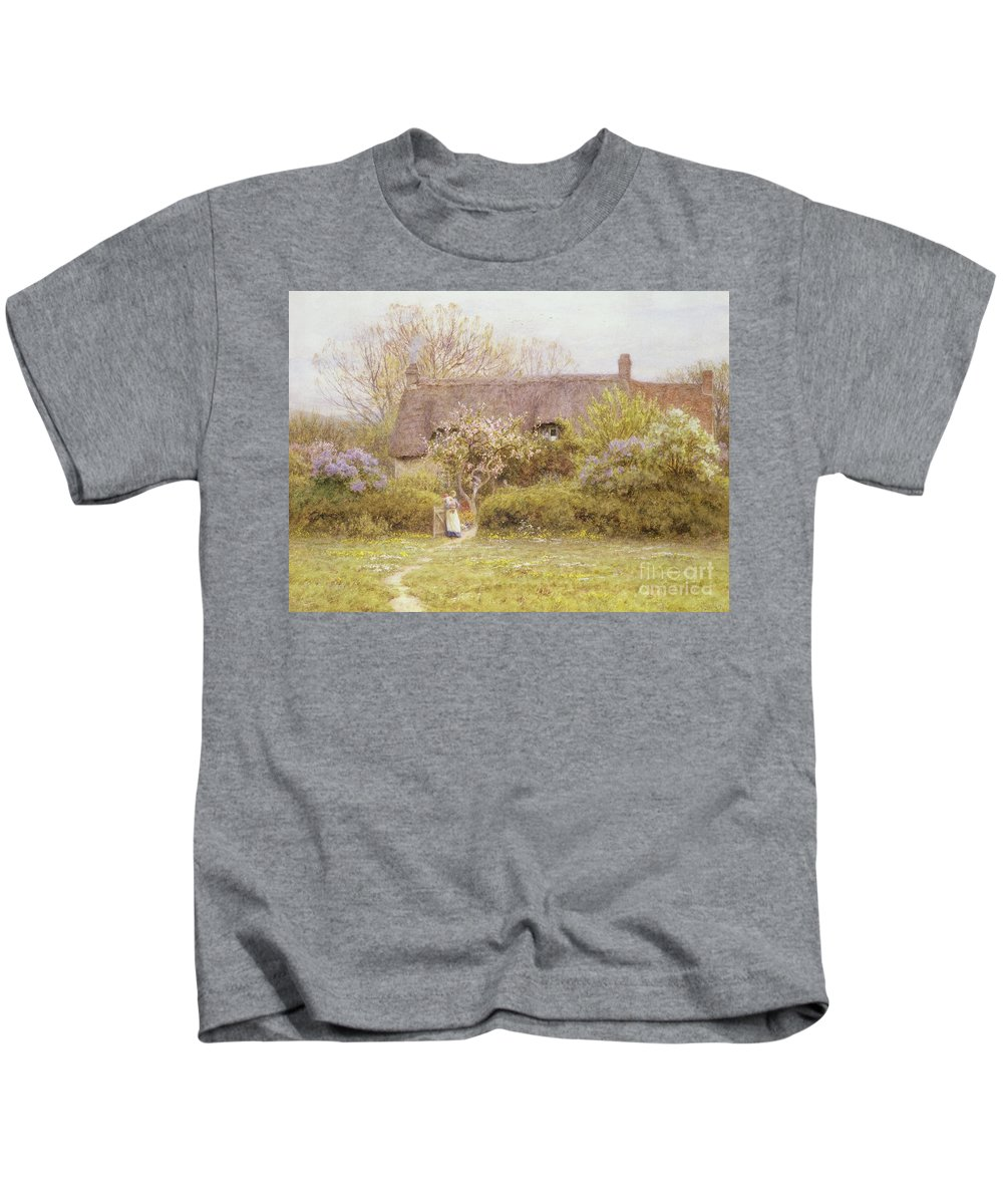 Cottage Kids T-Shirt featuring the painting Cottage Freshwater Isle Of Wight by Helen Allingham