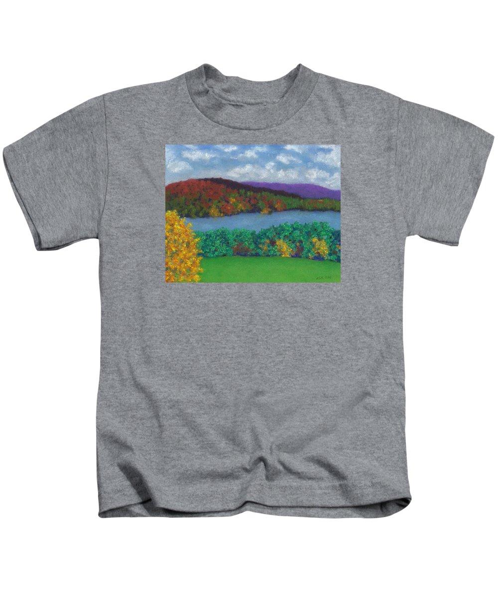 Landscape Kids T-Shirt featuring the pastel Crisp Kripalu Morning by Anne Katzeff