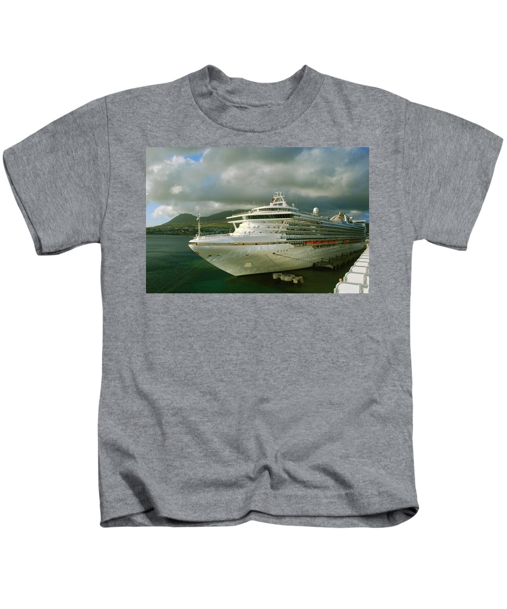 Grand Princess Kids T-Shirt featuring the photograph Cruise Ship In Port by Gary Wonning