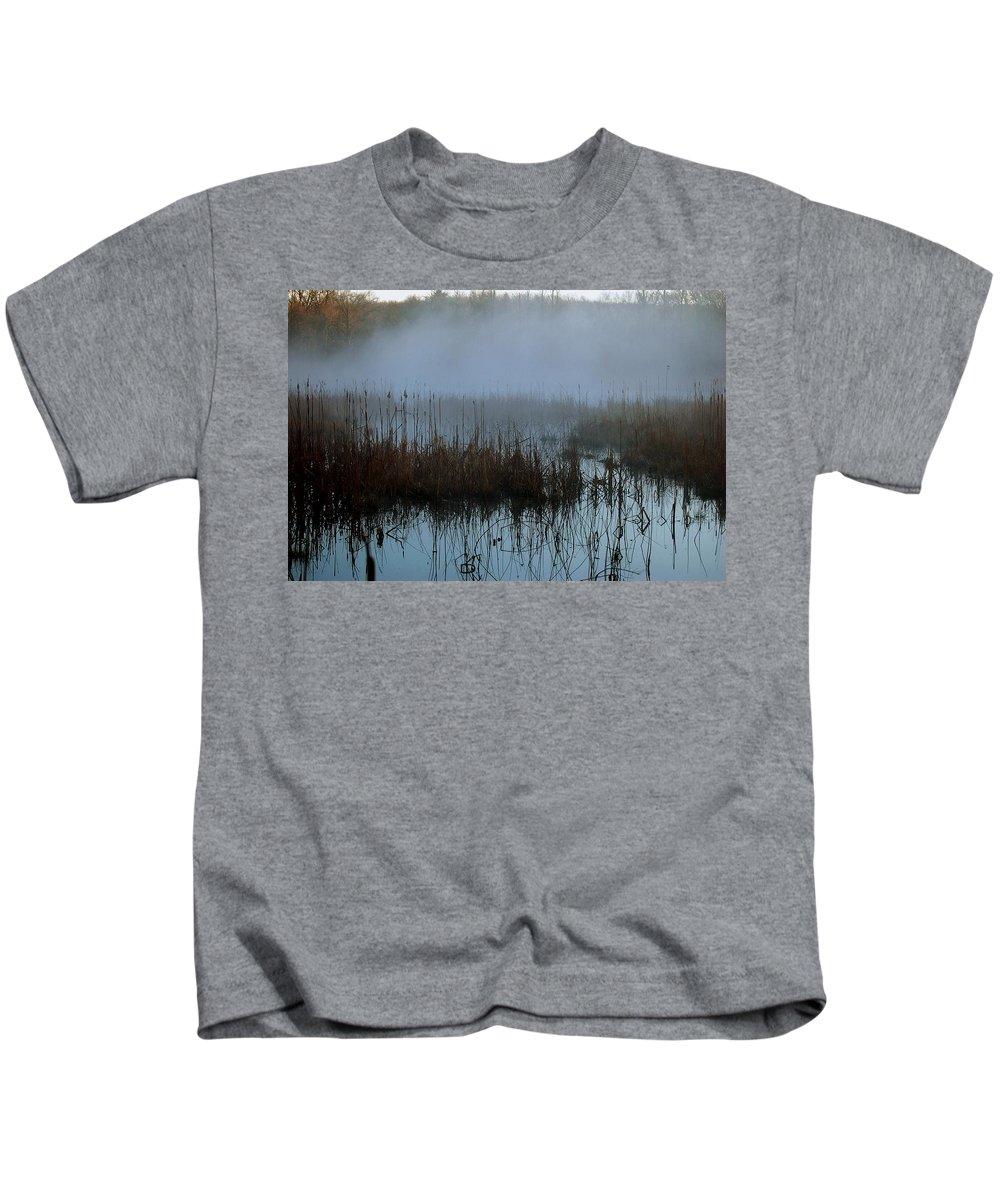 Dawn Kids T-Shirt featuring the digital art Daybreak Marsh by Fred Zilch