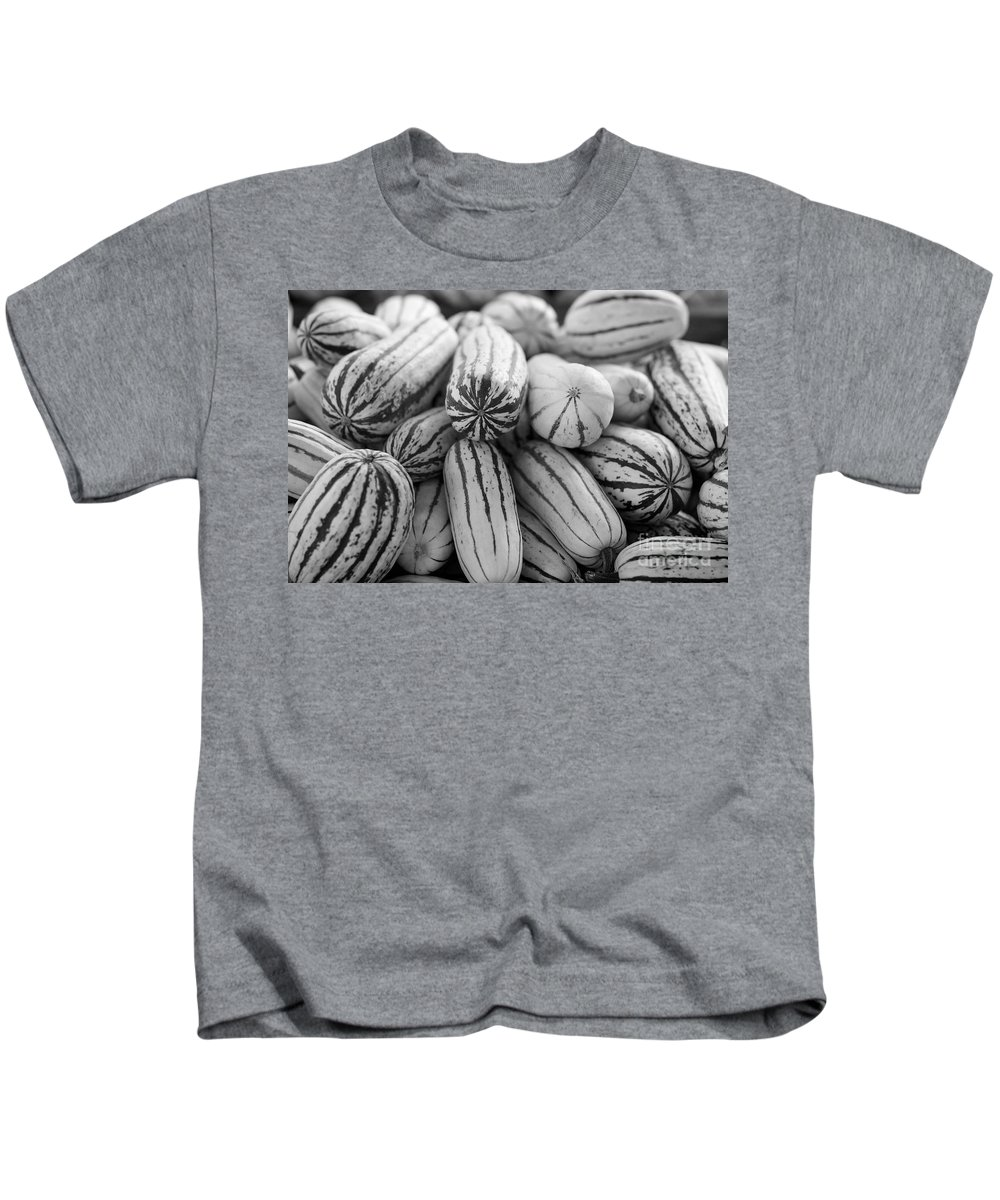 Delicata Kids T-Shirt featuring the photograph Delicata Winter Squash In Black by Brooke Roby