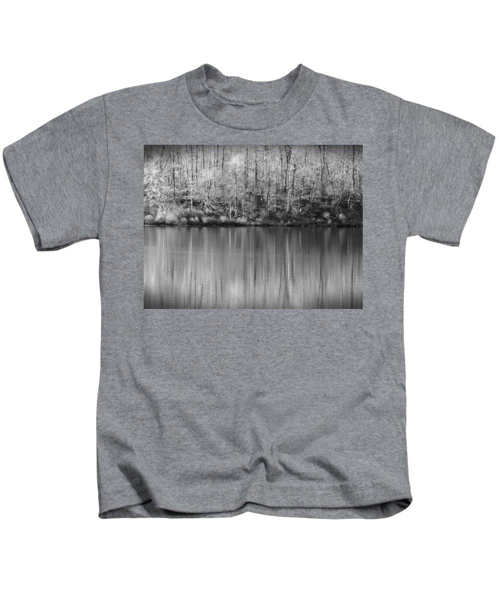 Rickets Glen Kids T-Shirt featuring the photograph Desolate Splendor Bw by David Dehner