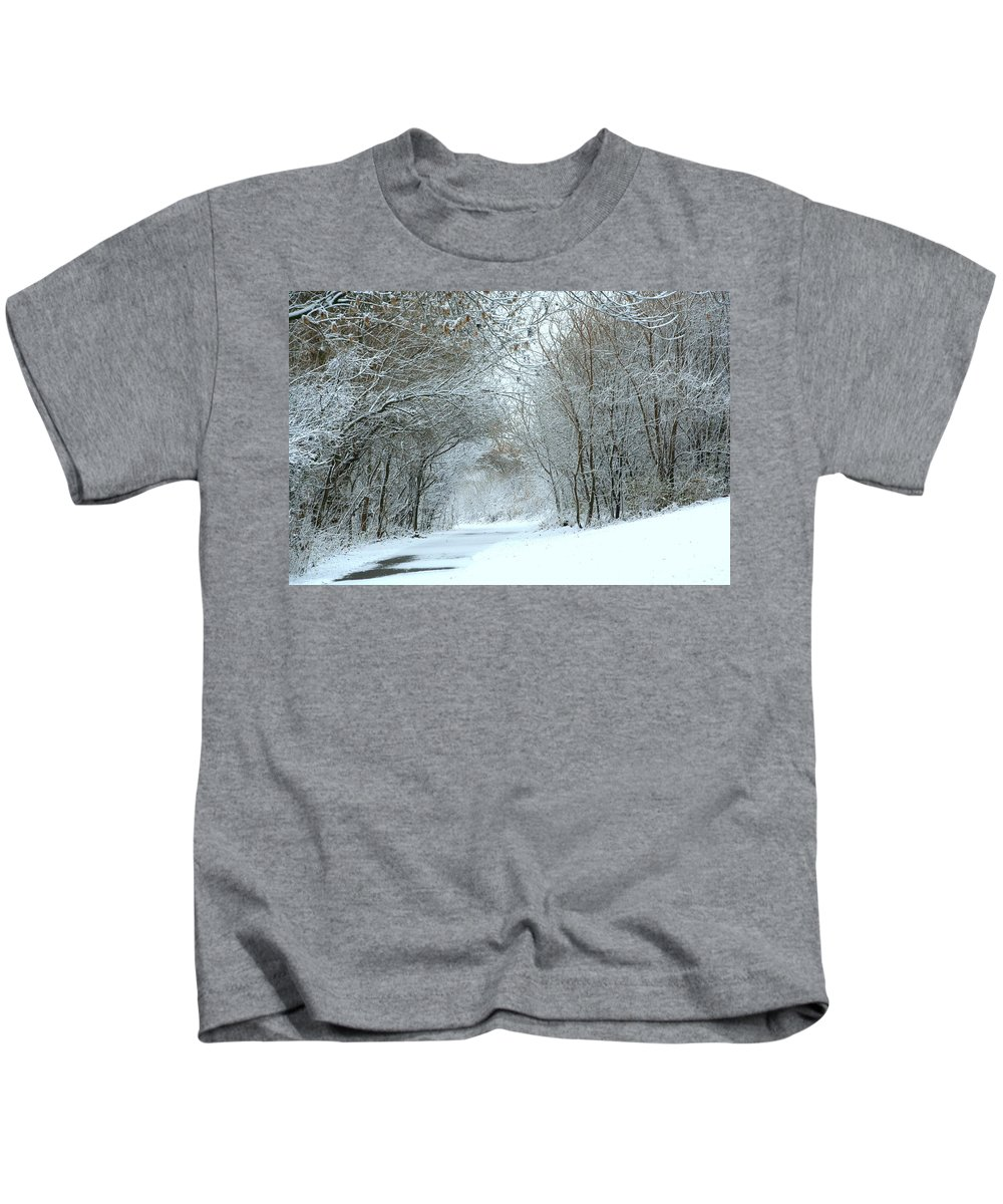 Winter Kids T-Shirt featuring the photograph Down A Winter Road by Laurel Talabere