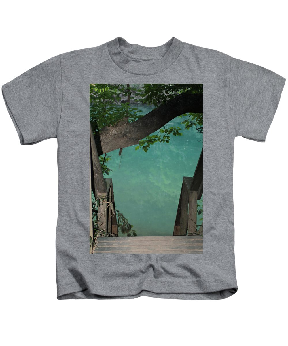 Water Kids T-Shirt featuring the photograph Down To The Creek by Karen Wagner