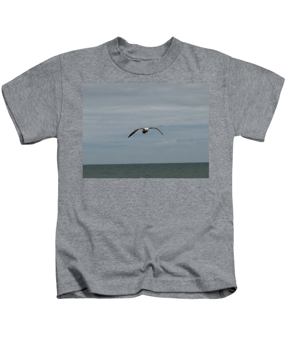 Seagull Kids T-Shirt featuring the photograph Downstroke by Linda Hutchins
