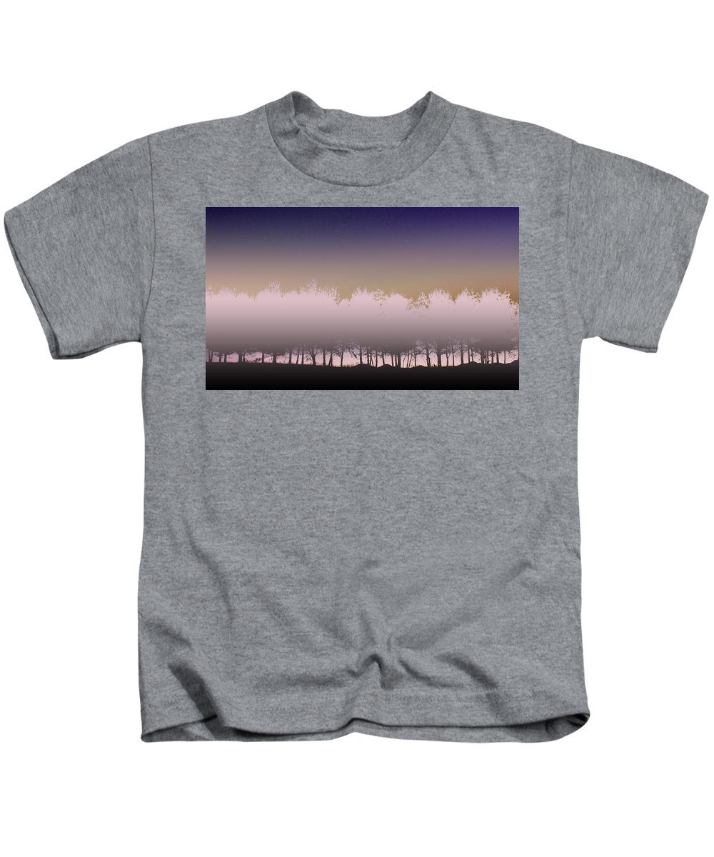 Row Of Trees Kids T-Shirt featuring the photograph Dusk by Gray Artus