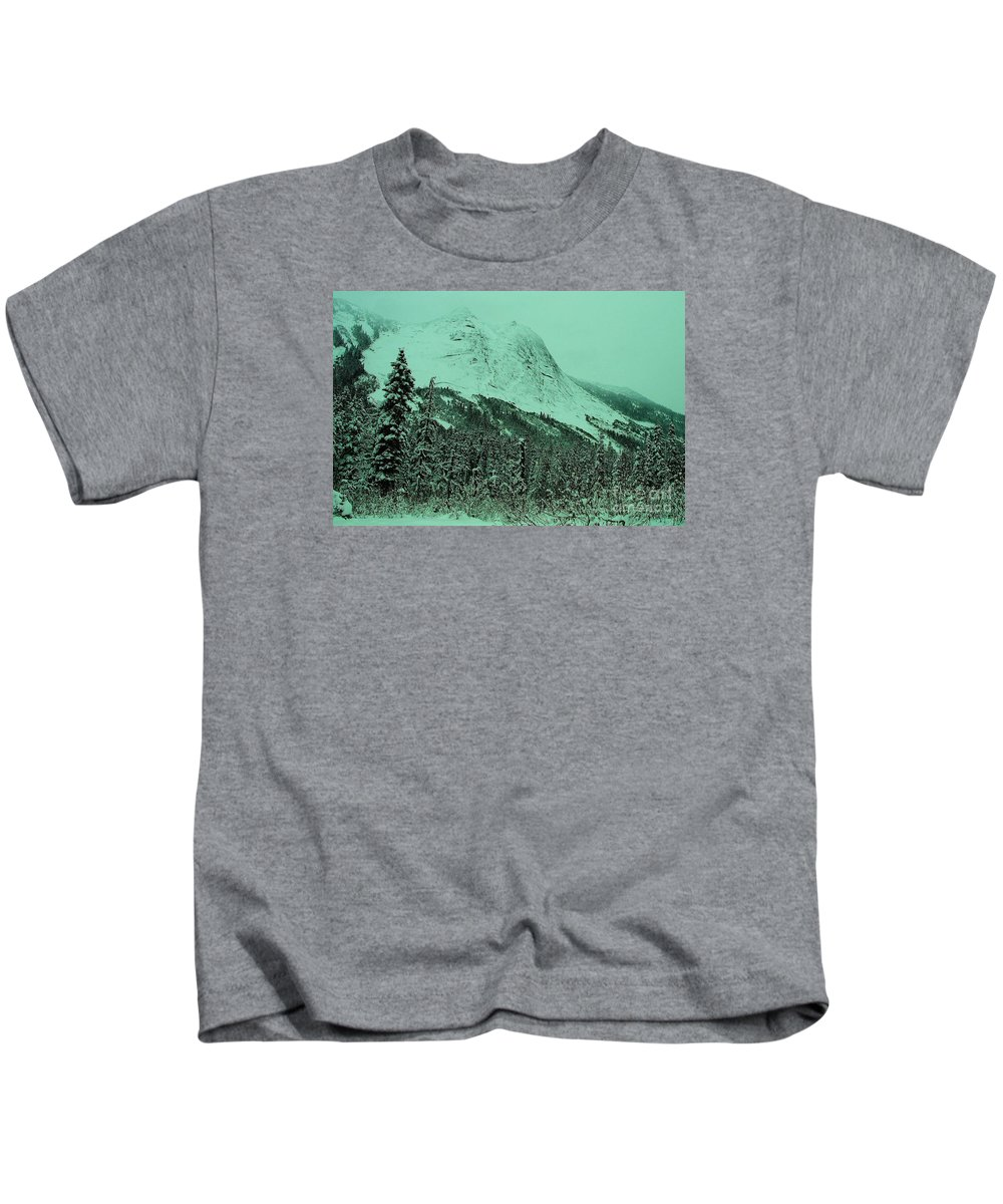 Mountains Kids T-Shirt featuring the photograph Early Snow In The Mountains by Jeff Swan