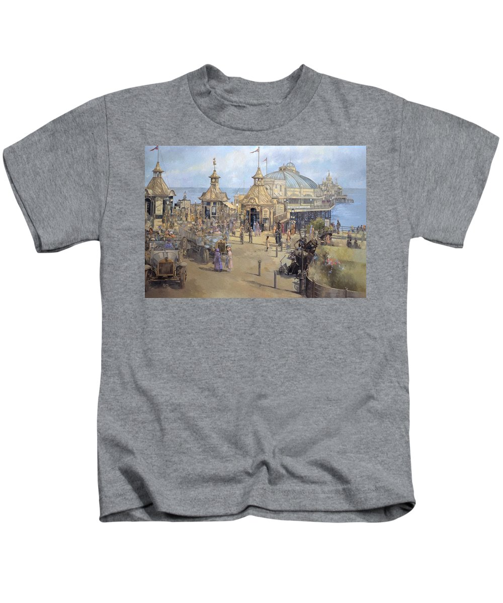 Seaside; Sea; Pier; Dome; East Sussex; Leisure; Recreation; Day Trip; Eastbourne Kids T-Shirt featuring the painting Eastbourne by Peter Miller