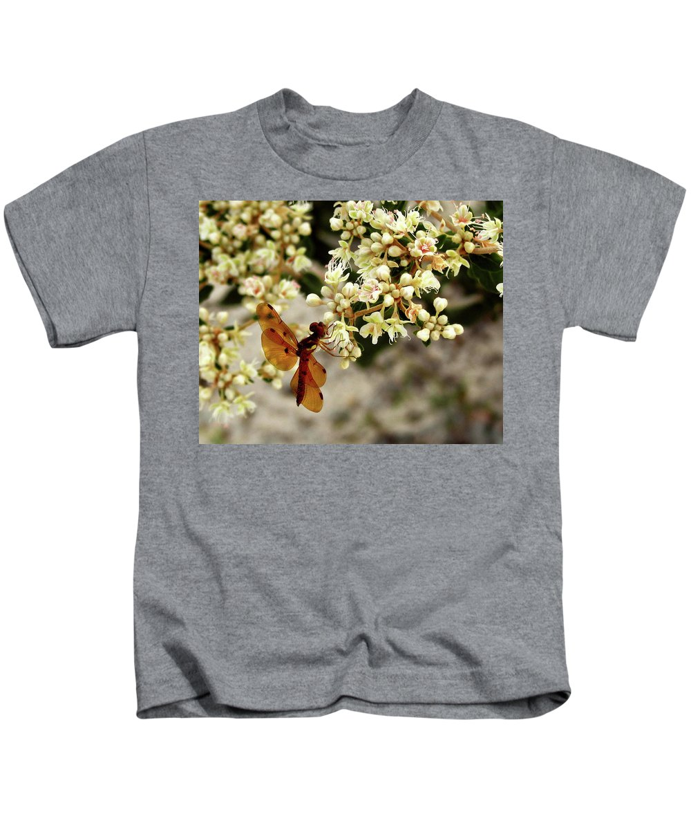 Nature Kids T-Shirt featuring the photograph Eastern Amberwing On Wild Buckwheat by Peg Urban