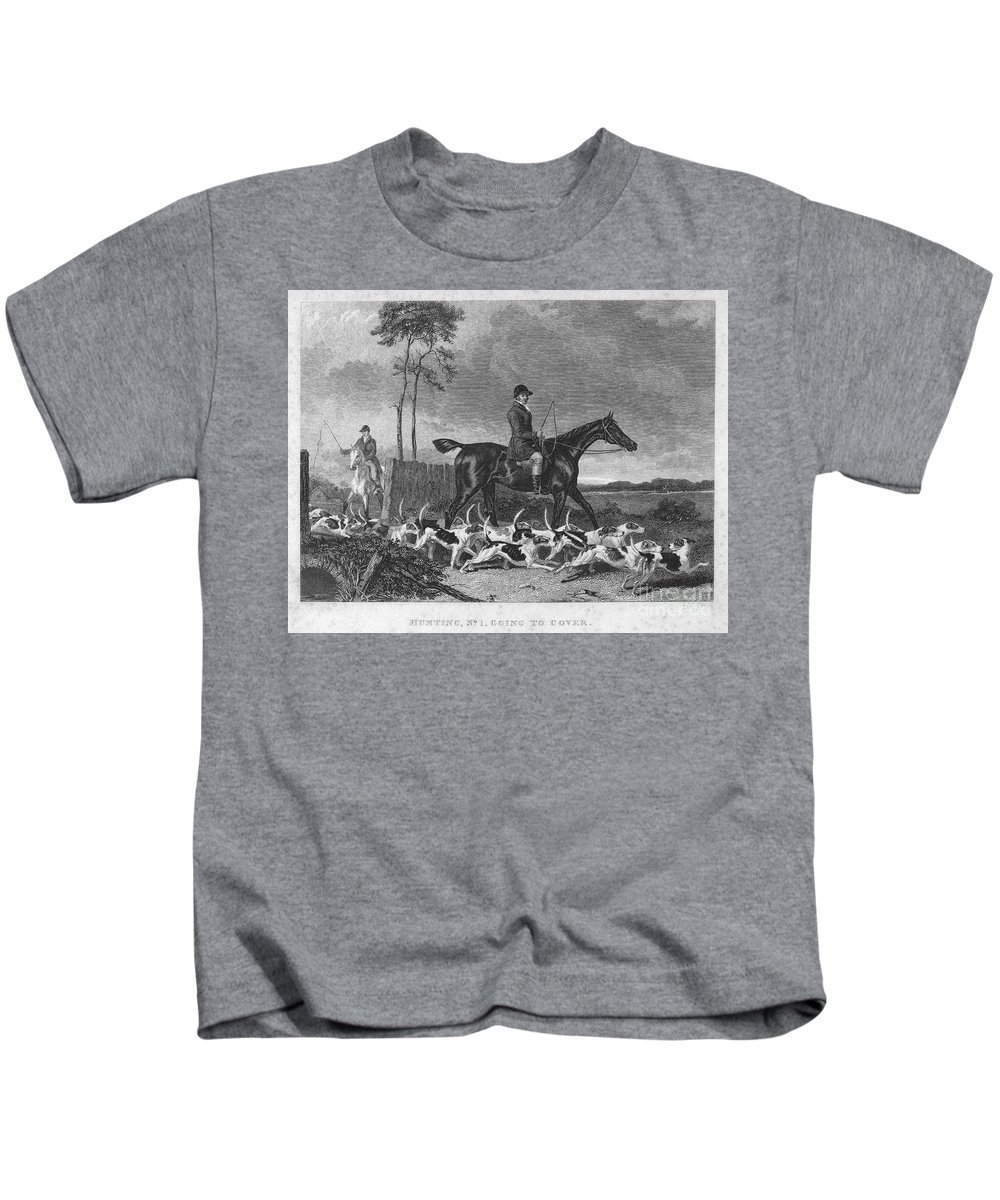 1832 Kids T-Shirt featuring the photograph England: Fox Hunt, 1832 by Granger