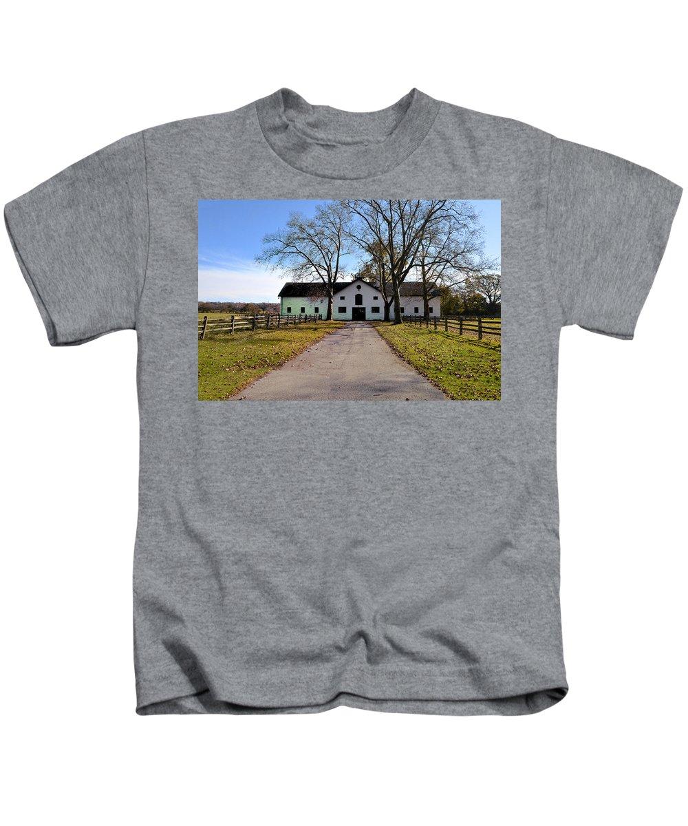 Erdenheim Kids T-Shirt featuring the photograph Erdenheim Farm Equestrian Stable by Bill Cannon