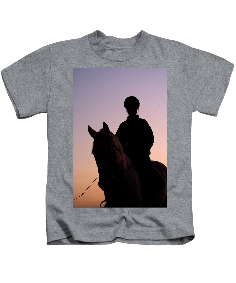 Horse Kids T-Shirt featuring the photograph Evening Harmony by Tracey Beer