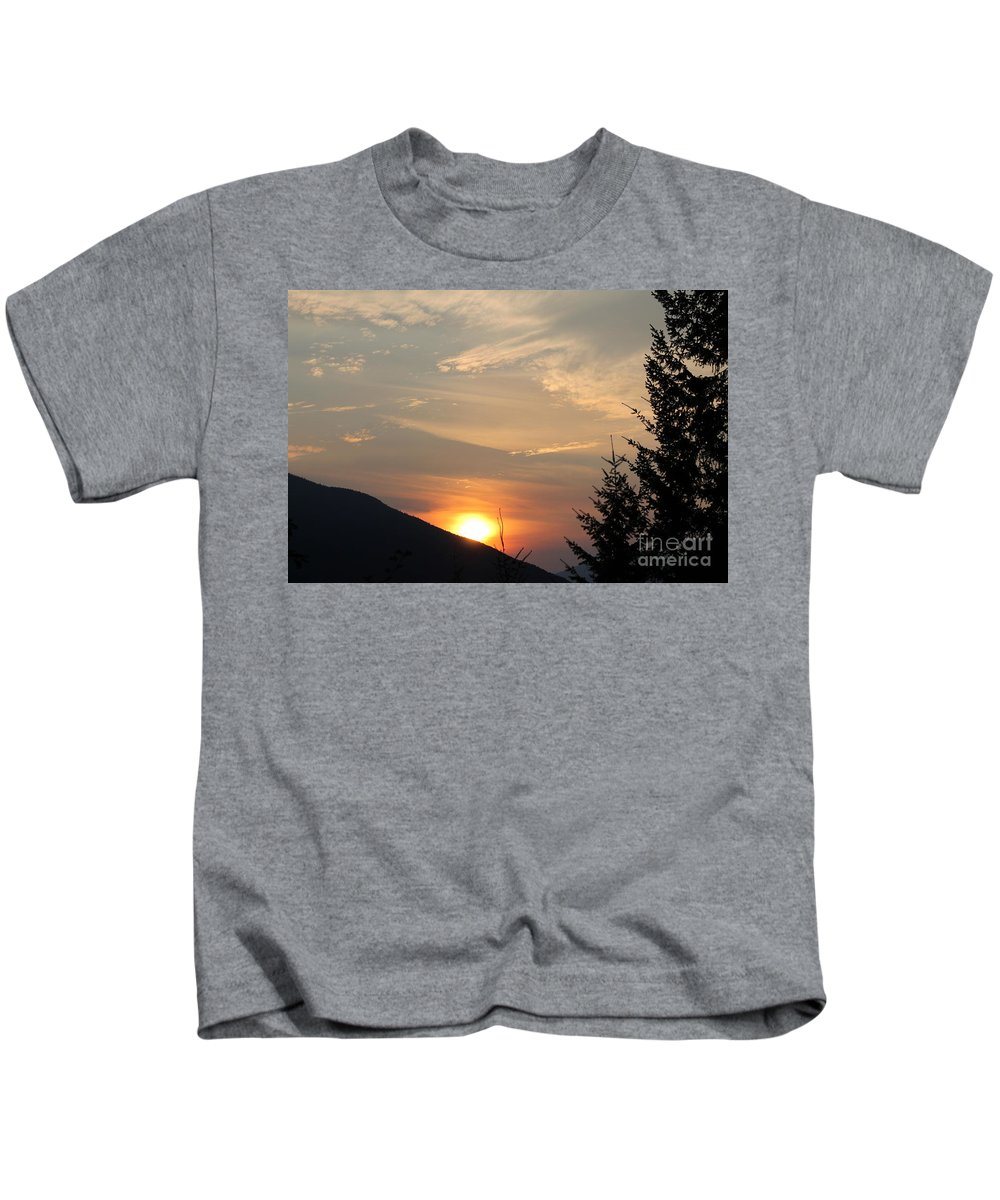 Sunset Kids T-Shirt featuring the photograph Evening Sunset by Leone Lund
