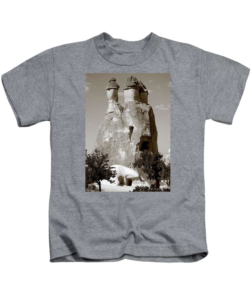 Fairy Chimney Kids T-Shirt featuring the photograph Fairy Chimney In Goreme by RicardMN Photography
