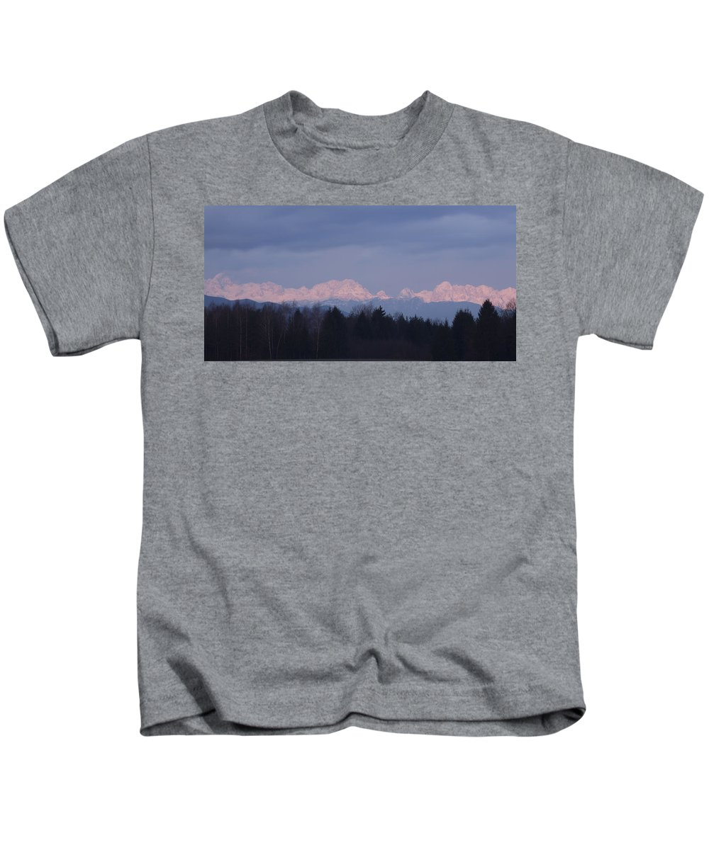 Sunrise Kids T-Shirt featuring the photograph First Mountain Snow by Ian Middleton