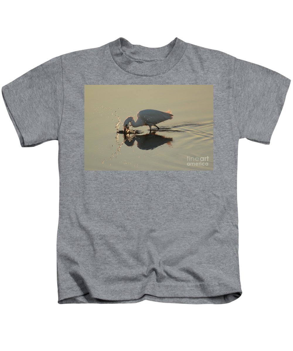 Egret Kids T-Shirt featuring the photograph Fishing by Adam Jewell