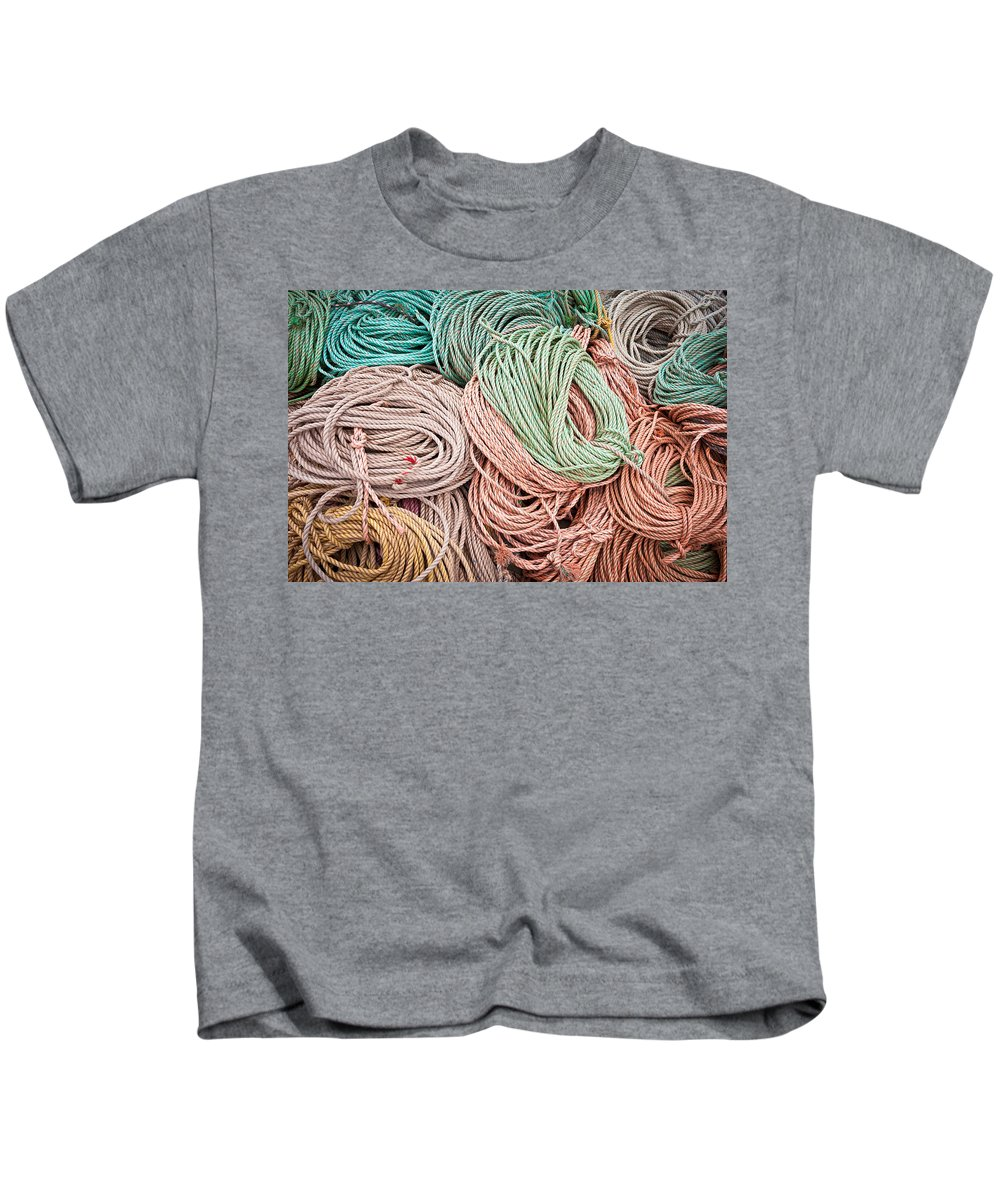 Maine Kids T-Shirt featuring the photograph Fishing Lines by Steve Gadomski