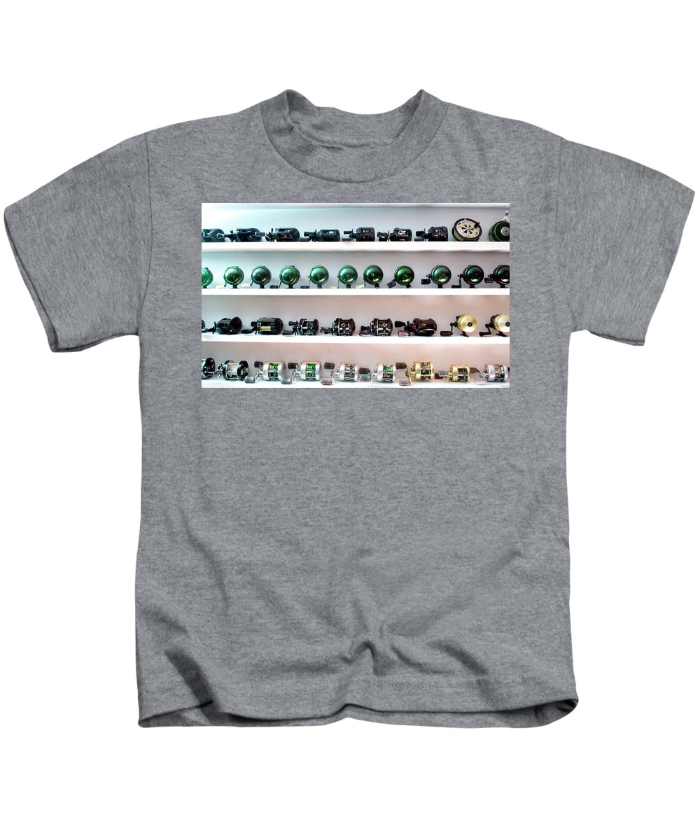 Animals Kids T-Shirt featuring the photograph Fishing Pole Reels by Thomas Woolworth