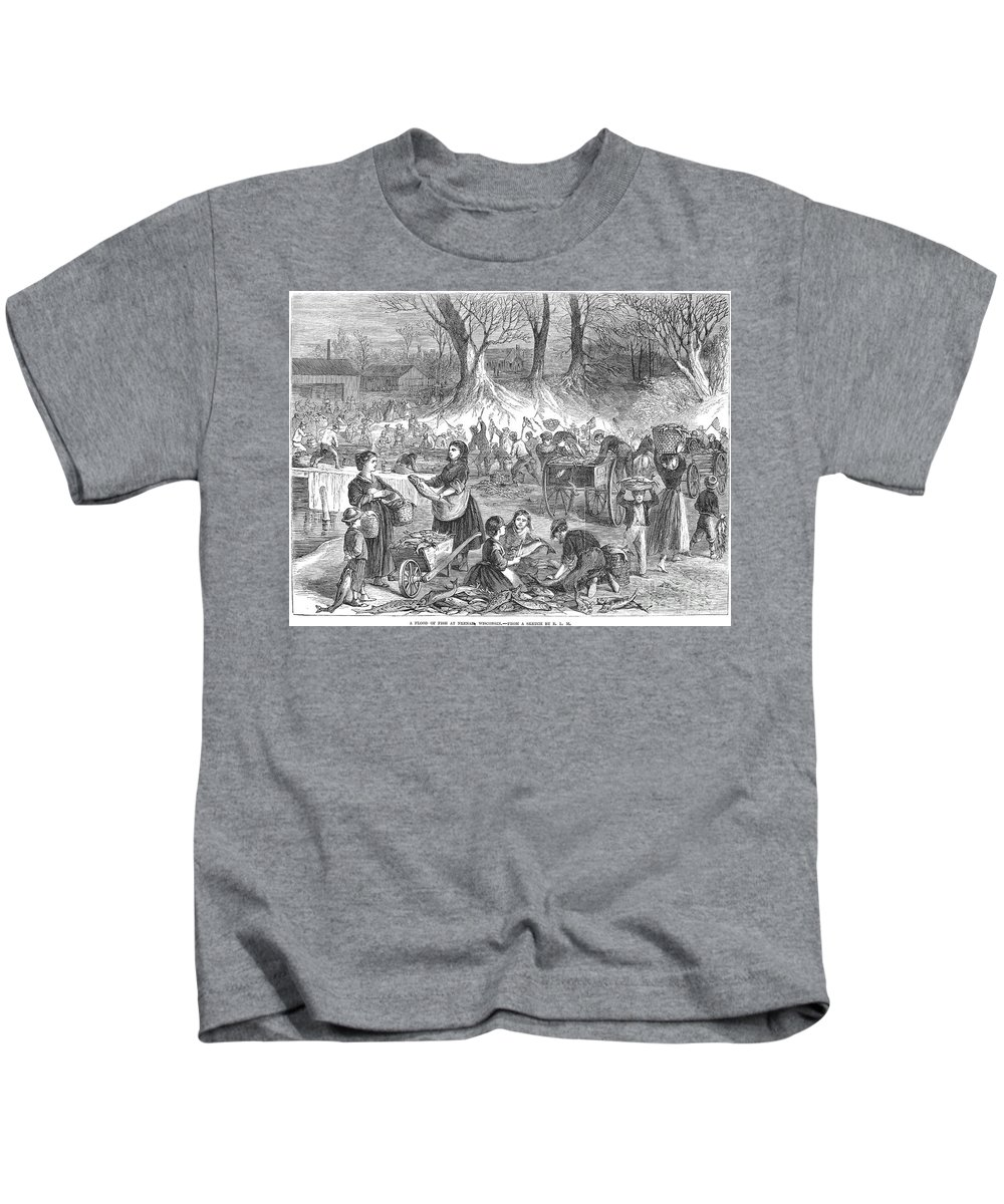 1867 Kids T-Shirt featuring the photograph Flood Of Fish, 1867 by Granger