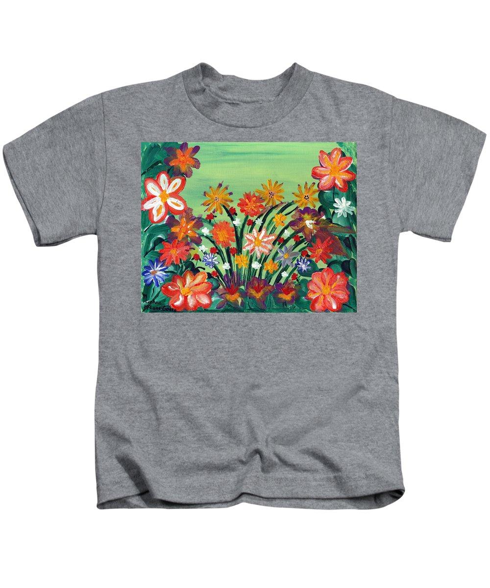 Floral Kids T-Shirt featuring the painting Flower Garden by LeeAnn McLaneGoetz McLaneGoetzStudioLLCcom