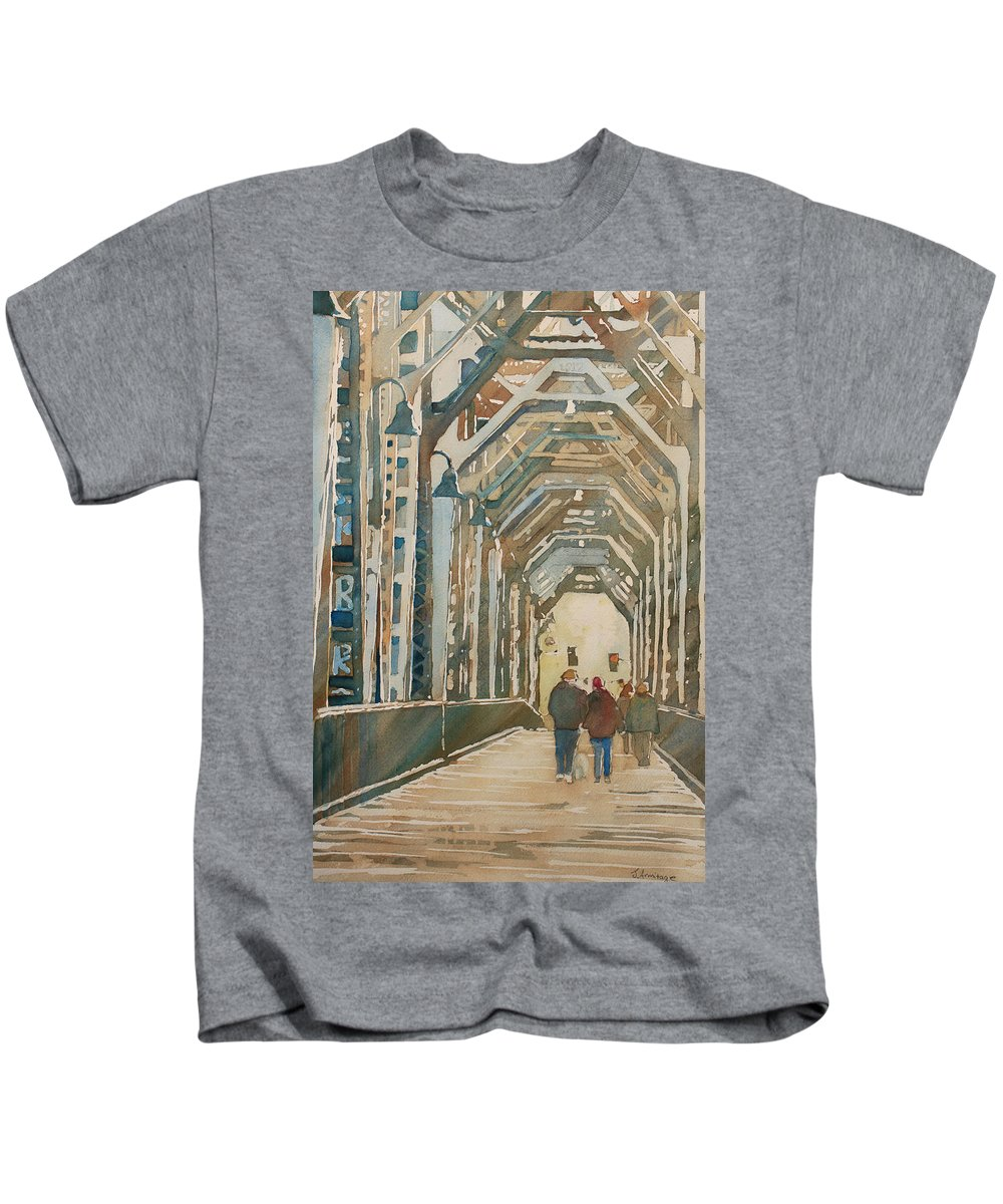 Railroad Kids T-Shirt featuring the painting Foggy Morning On The Railway Bridge One by Jenny Armitage