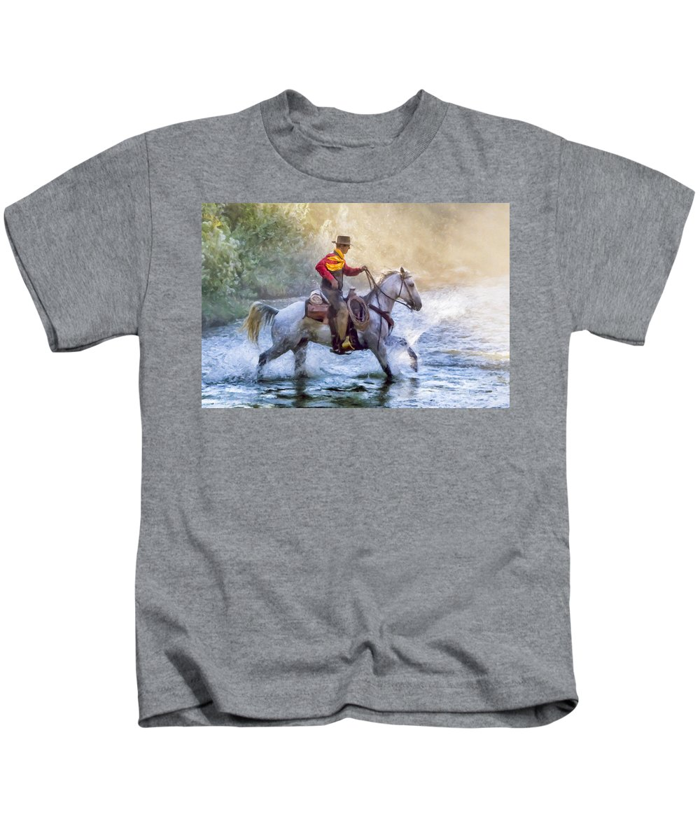 Big Horn Basin Kids T-Shirt featuring the painting Fresh Start by Janet Fikar