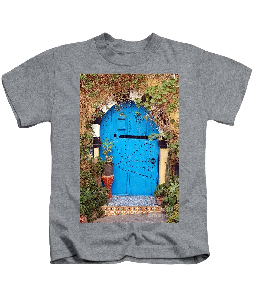 Sidi Bou Said Kids T-Shirt featuring the photograph Friendship Door by Eva Kaufman