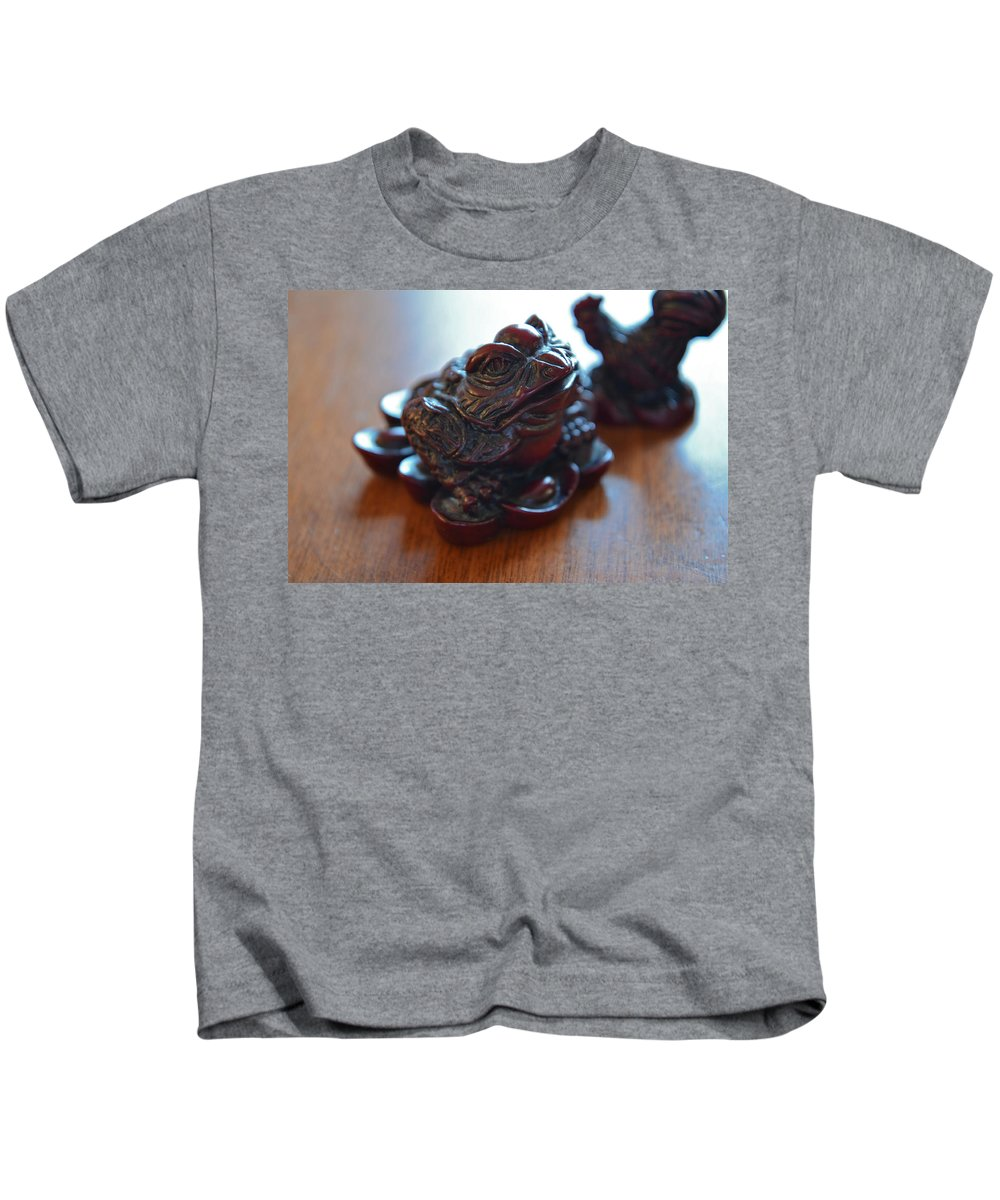 Frog Kids T-Shirt featuring the photograph Frog And Rooster by Bill Owen