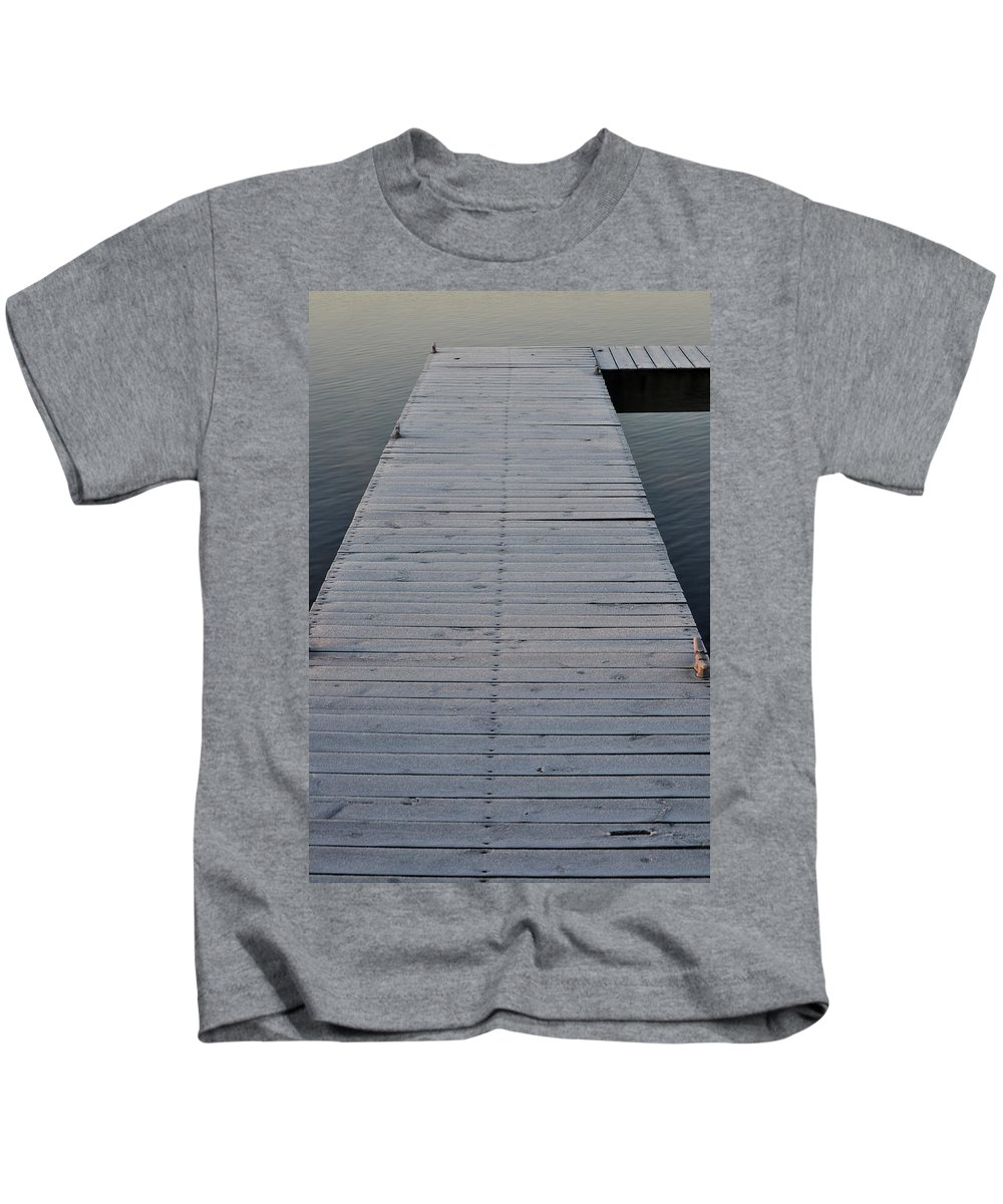 Dock Kids T-Shirt featuring the photograph Frosted Dock by Tim Nyberg