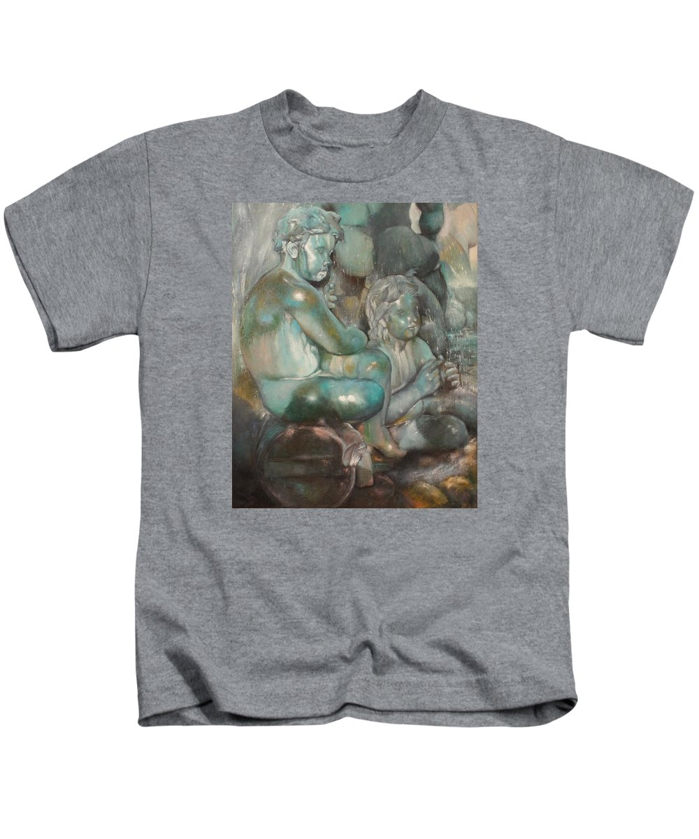 Art Fine Kids T-Shirt featuring the painting Fuente Girondins-Detalle by Tomas Castano