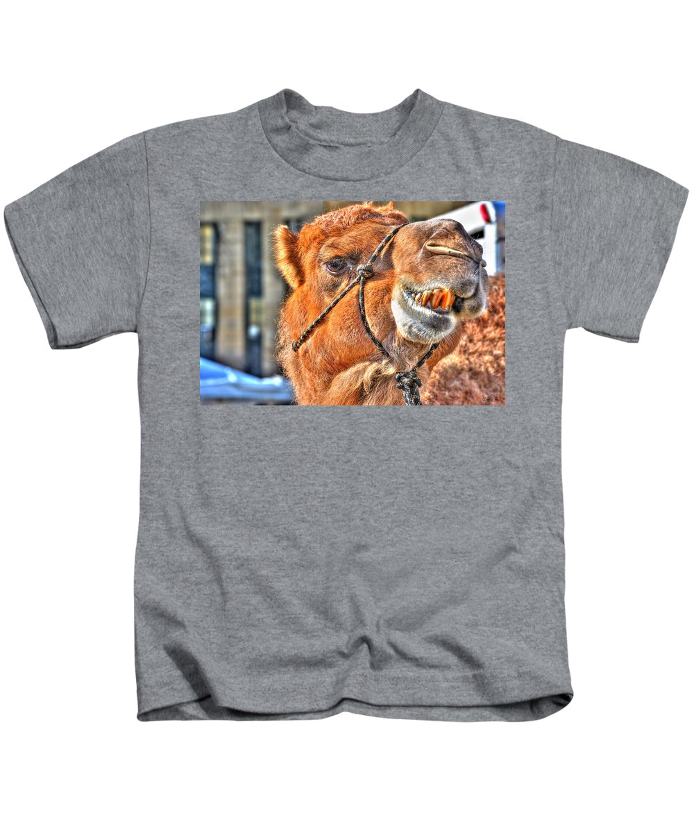 Kids T-Shirt featuring the photograph Gangsta Grillin This Camels Chillin by Michael Frank Jr