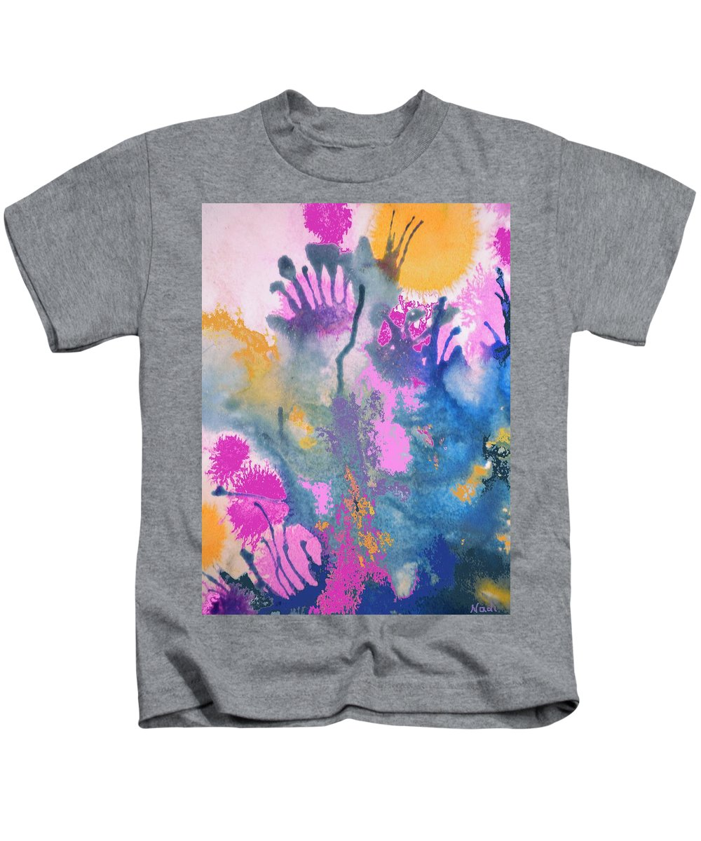 Pink Kids T-Shirt featuring the painting Garden Fantastico by Renate Nadi Wesley