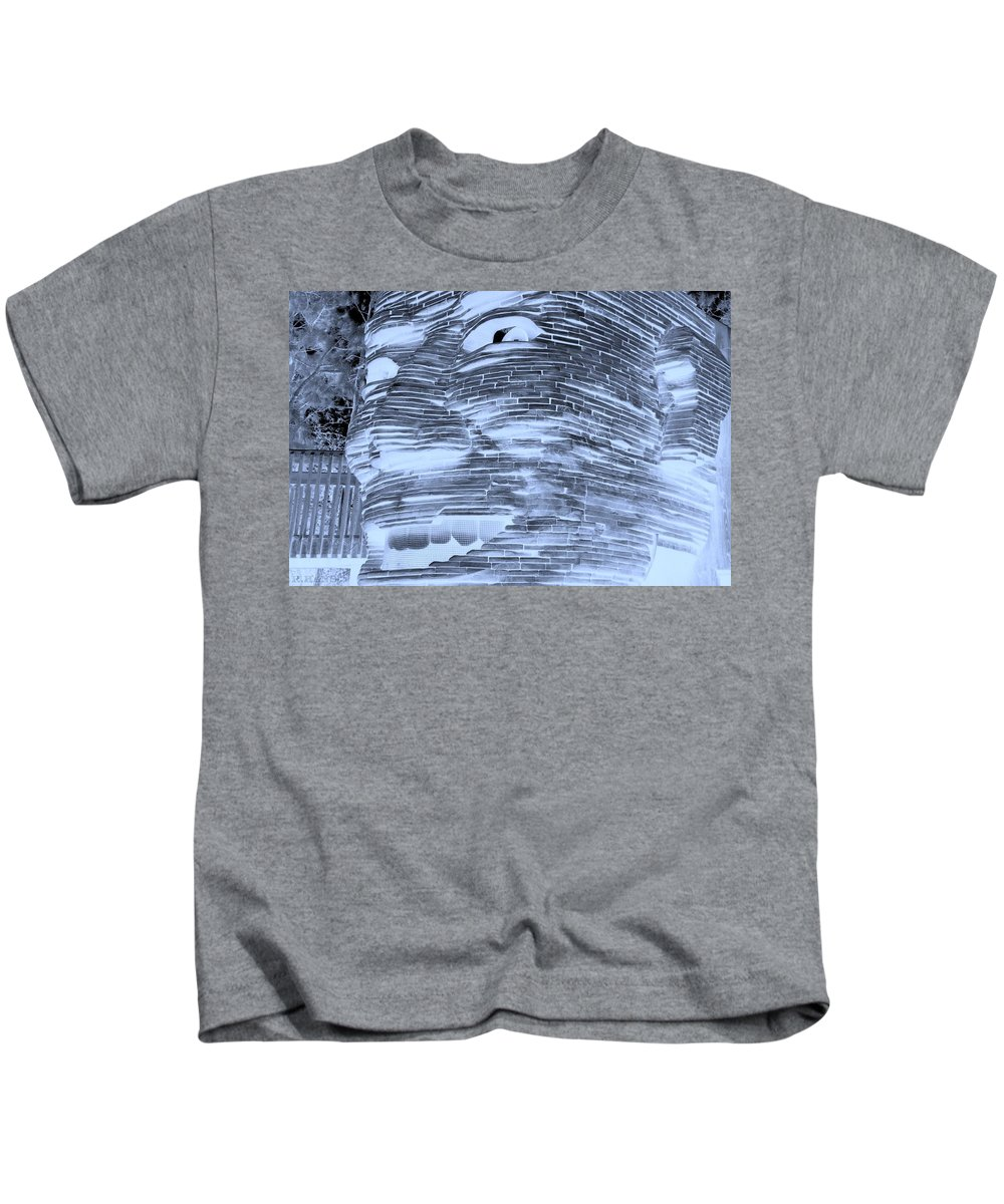 Architecture Kids T-Shirt featuring the photograph Gentle Giant In Negative Cyan by Rob Hans
