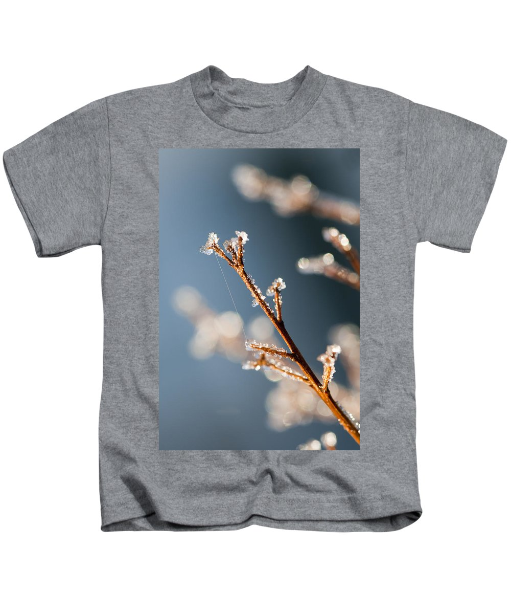Ice Kids T-Shirt featuring the photograph Glistening Ice Crystals by Kathy Clark