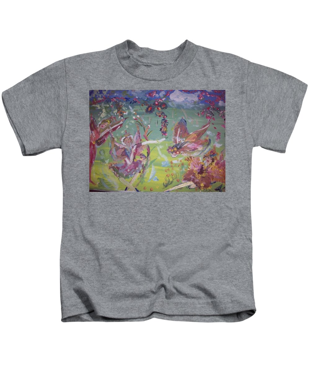 Fairy Kids T-Shirt featuring the painting Good Morning Fairies by Judith Desrosiers
