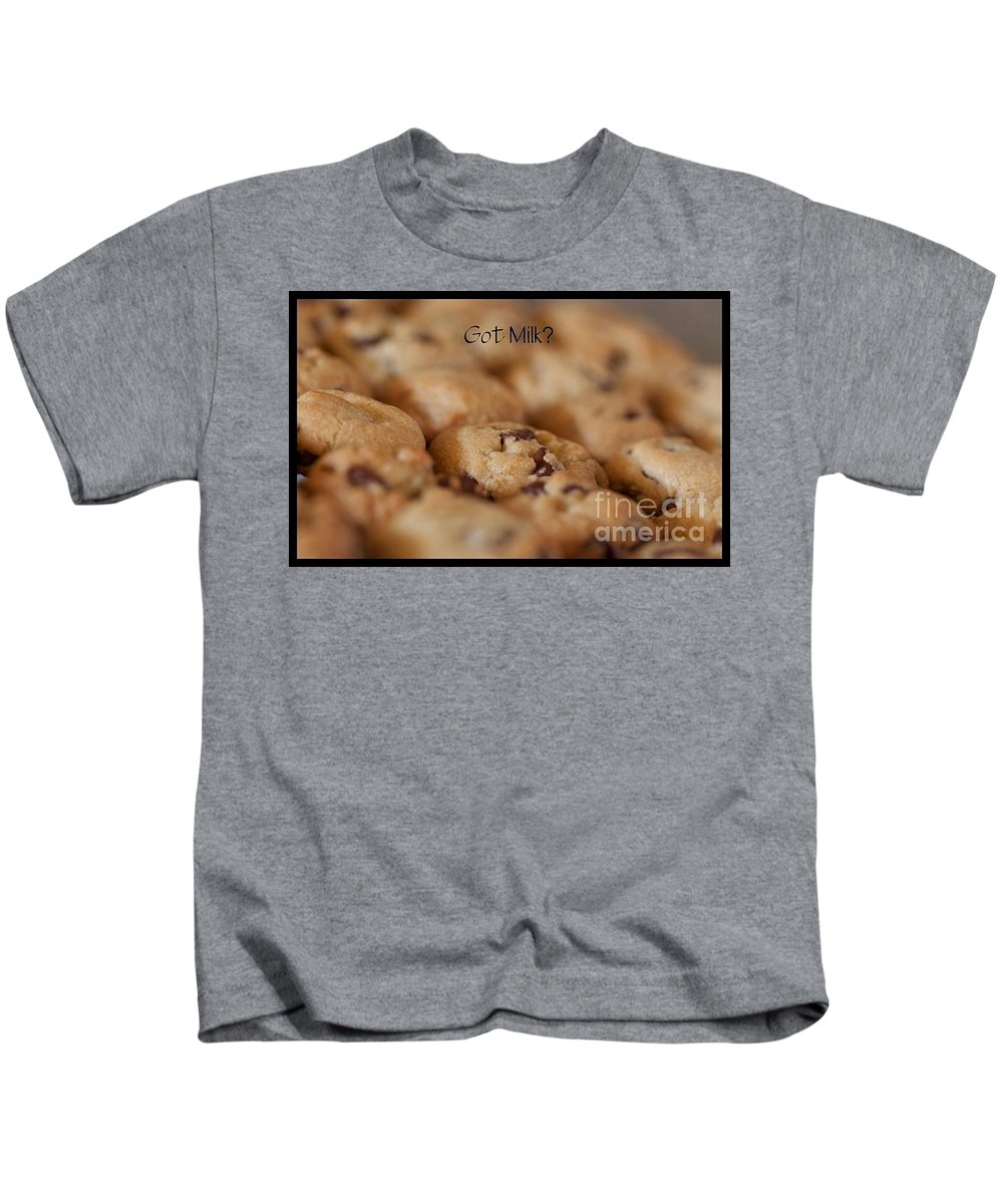Fine Art Food Photographs Kids T-Shirt featuring the photograph Got Cookies But Got Milk by Brooke Roby