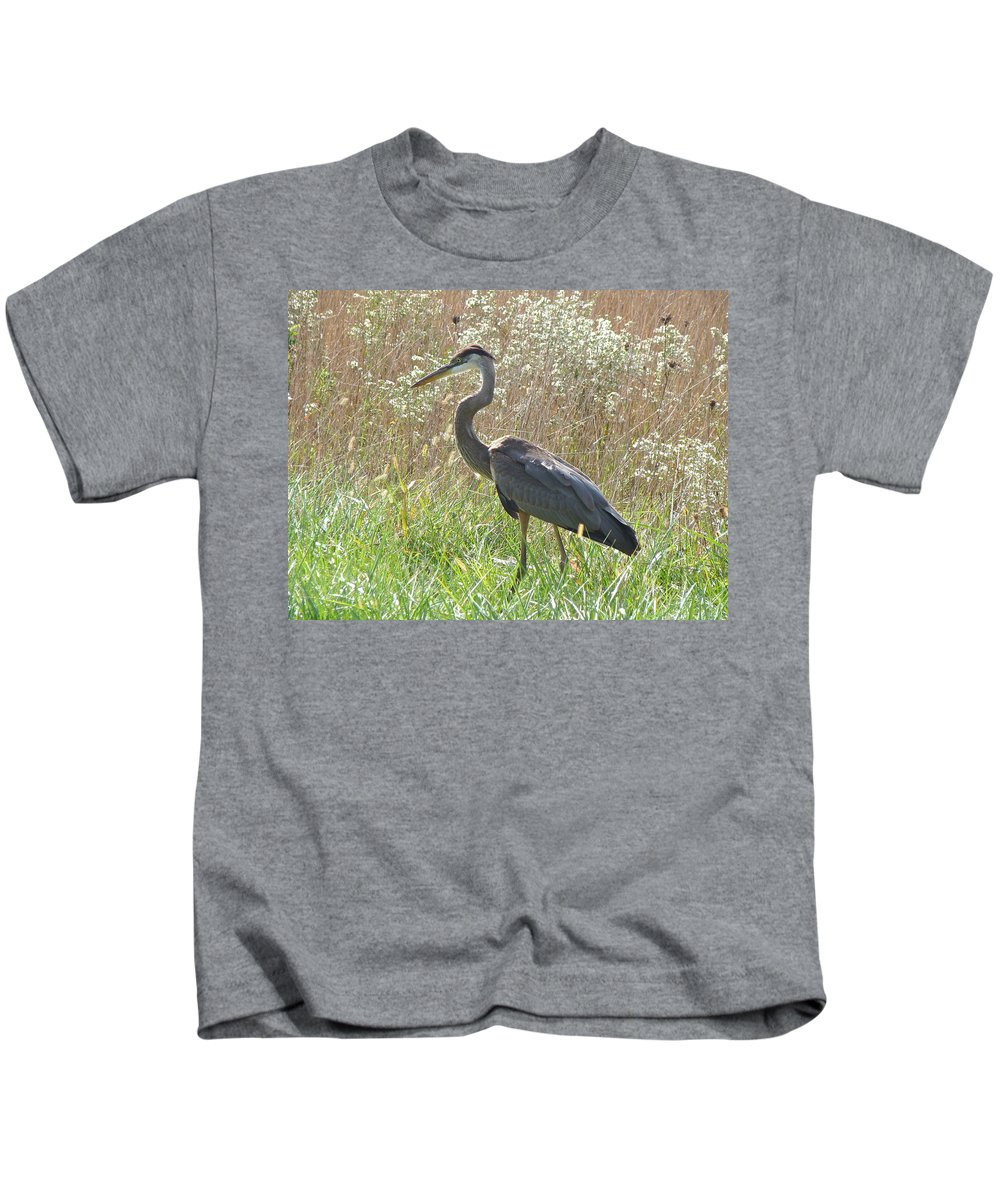 Heron Kids T-Shirt featuring the photograph Great Blue Heron - Ardea Herodias by Mother Nature