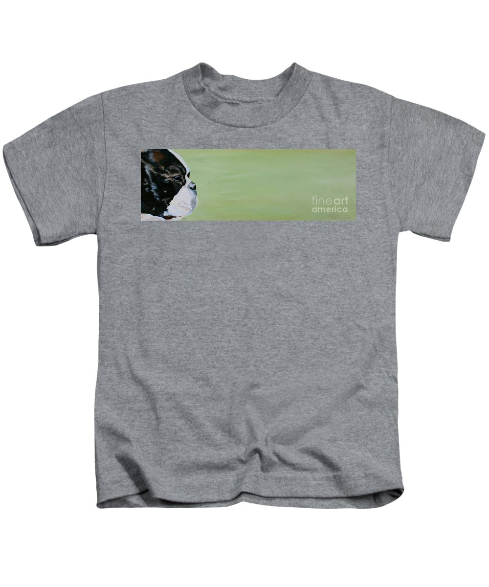 Boston Terrier Kids T-Shirt featuring the painting Green Space by Susan Herber
