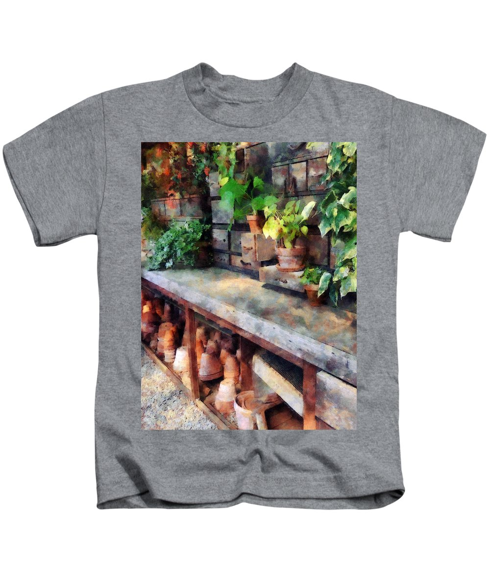 Greenhouse Kids T-Shirt featuring the photograph Greenhouse With Flowerpots by Susan Savad