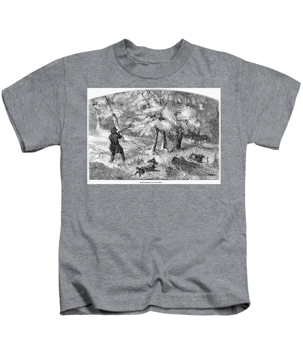 1855 Kids T-Shirt featuring the photograph Grouse Hunting, 1855 by Granger