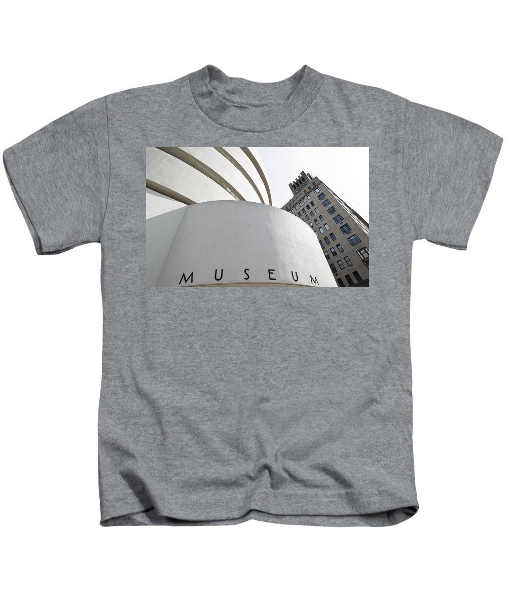 Architecture Kids T-Shirt featuring the photograph Guggenheim Museum by MakenaStockMedia - Printscapes